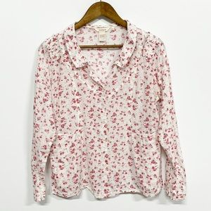 Sundance | White Pink Floral Button up Blouse M